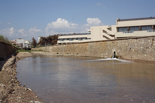 Alexandroupoli (GREECE): Sewage outflow into a small creek flowing to the sea close to a hotel.
